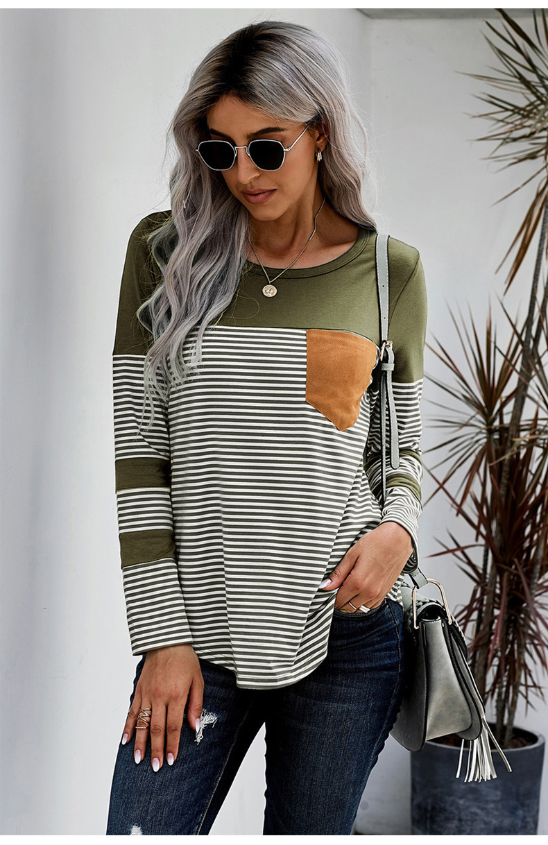 knitted sweater women's sleeves striped stitching new pocket long-sleeved women's sweater  NSSI2306