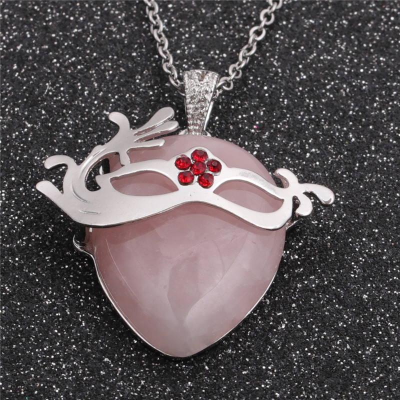 Fashion geometric ethnic style pendant stainless steel chain pink spar pendant for men and women  NHYL259180