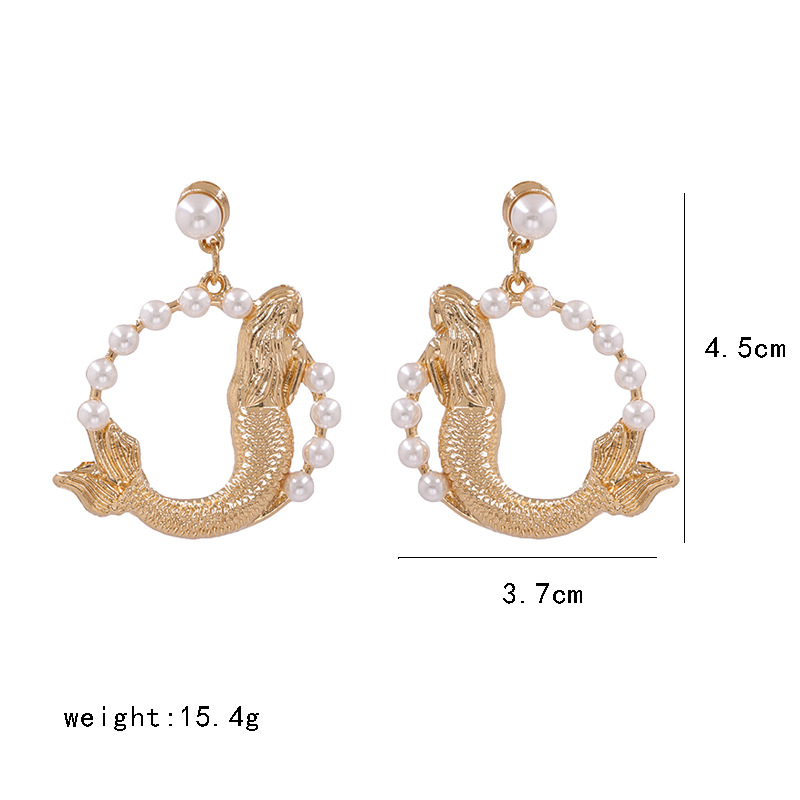 New fashion fishshaped necklace geometric round pearl necklace earrings NHJJ212337