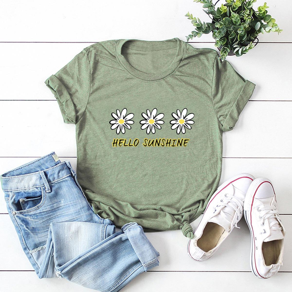 daisy print short-sleeved women's T-shirt NSSN1668