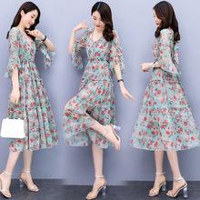 精品韩版女2020新款夏季潮流名暖时尚印花显瘦优雅连衣裙两件套