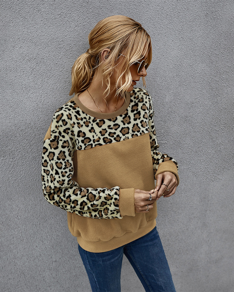Fashion hot-saling spring fleece sweater sexy leopard print contrast long-sleeved T-shirt for women NHKA244049