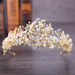 Hairpin hair clip hair accessories for women Niang Crown Pin water diamond crown hand woven flower crown hair band wedding headdress