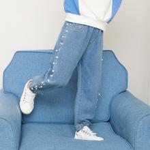 女童牛仔裤秋装韩版洋气小女孩珍珠网红长裤中大童钉珠女童牛仔裤