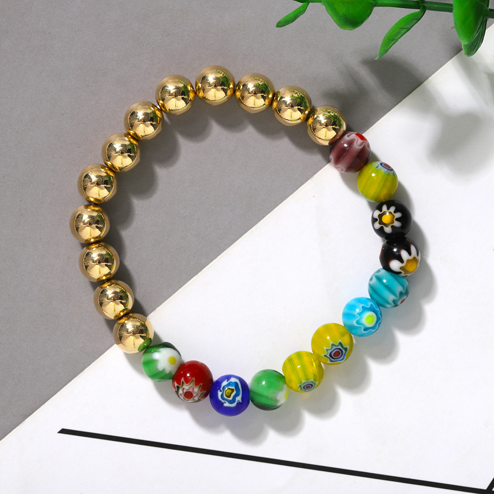 Gold Beaded Hand Women's New Trendy Fashion Mixed Color Printing Bracelet NHJQ203648