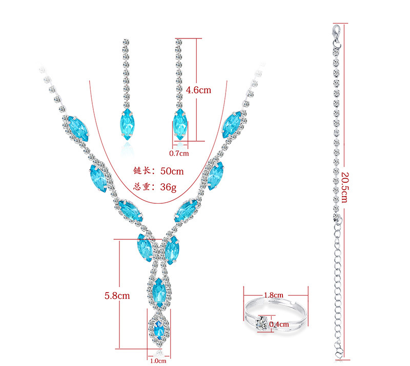 new bridal fashion alloy diamond earrings necklace threepiece set NHDR246250