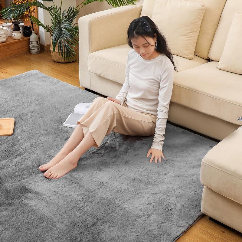 厂家直销欧式纯色加厚仿兔毛卧室客厅地毯床边飘窗垫家用防滑地垫