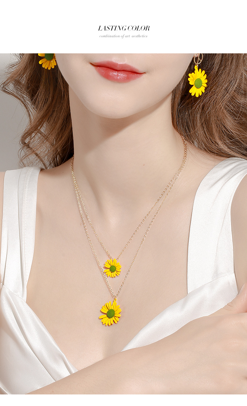 daisy summer new sweet flower necklace temperament elegant sexy wild clavicle chain wholesale nihaojewelry NHPP218144