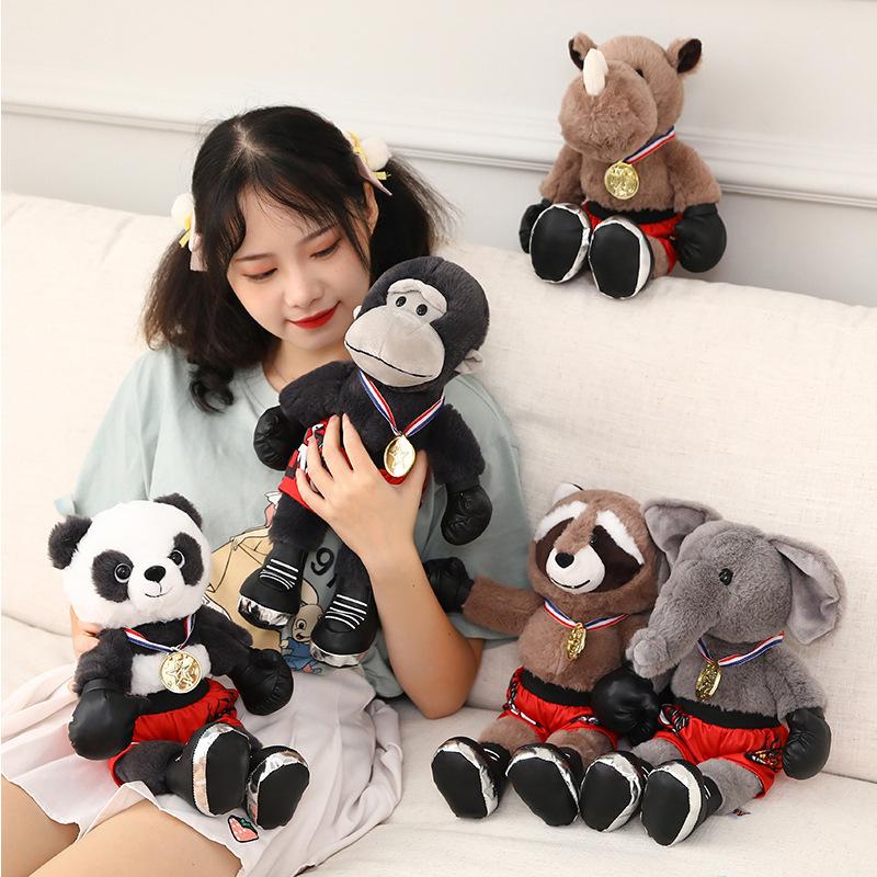 新款拳击手小动物毛绒公仔卡通熊猫大象犀牛猩猩浣熊拳手儿童玩偶