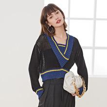 短款毛衣女外穿韩版宽松V领显瘦撞色百搭复古套头针织衫女2020秋