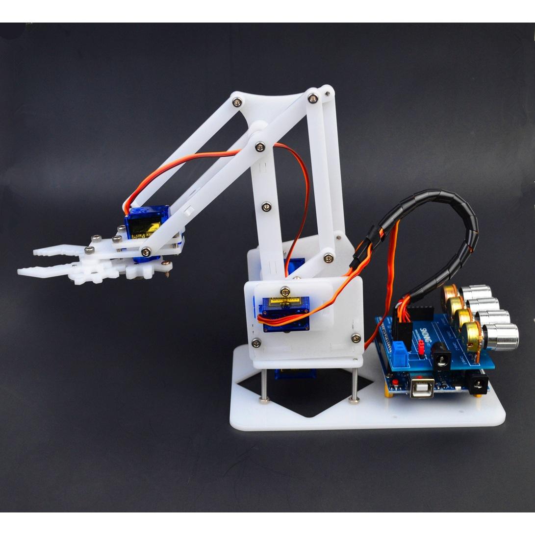 DIY拼装亚克力机械手臂白色 4自由度 arduino创客套件 sg90经济版