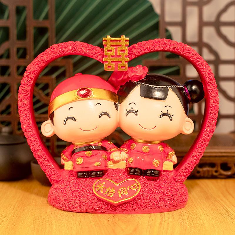 定制加工中式婚房客厅装饰品结婚礼物树脂工艺品家居创意礼品摆件