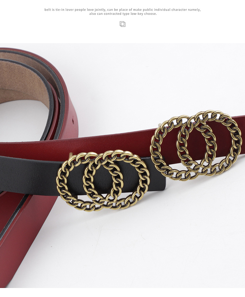 Double loop buckle belt fashion ladies casual leather cow leather two-layer leather decorative jeans belt NHPO203970