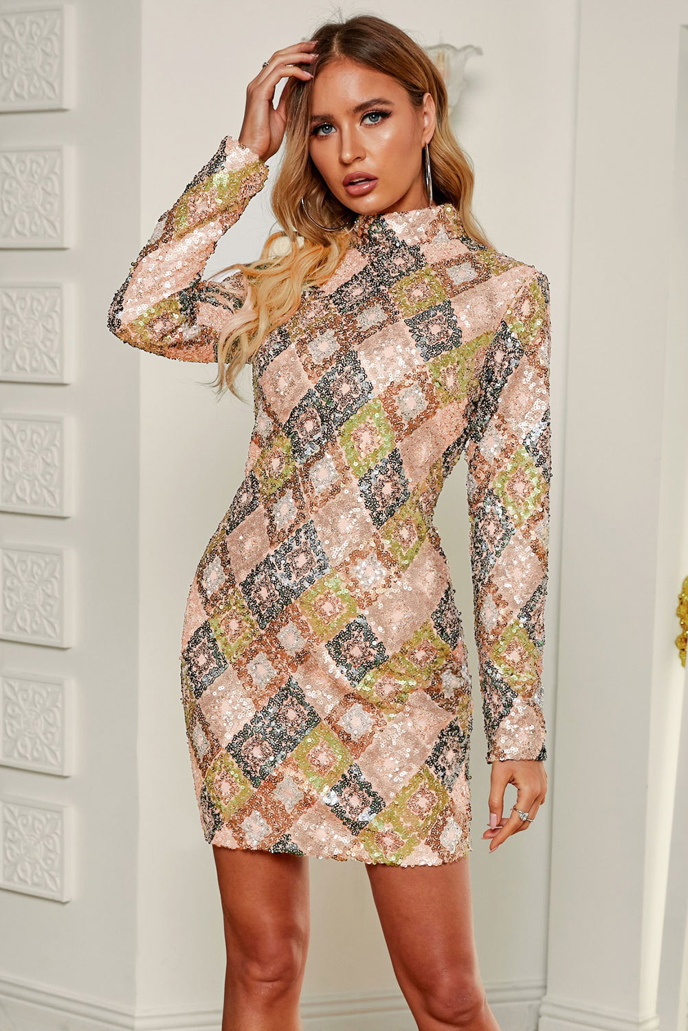 sexy women's long-sleeved high-neck fashion sequined slim mini dress NSSI2424