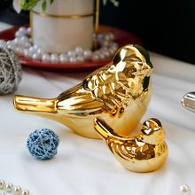 北欧陶瓷家居摆件ins小鸟桌面装饰品工艺品电镀金色喜鹊小鸟装饰