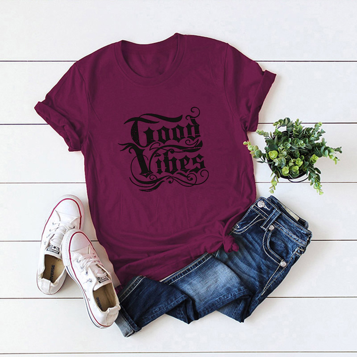 letters comfortable top short-sleeved T-shirt NSSN1463