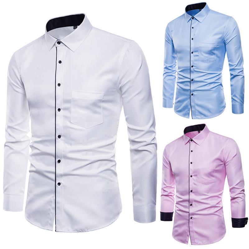 衬衫男士长袖外套上衣服商务休闲寸杉韩版修身青年男式衬衫C19