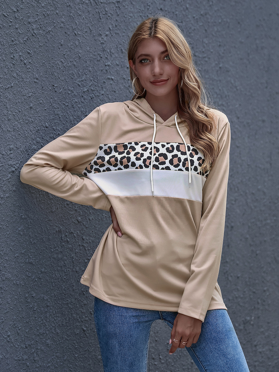 autumn and winter women's trendy leopard print stitching one-piece hoodie hot sale NSAL3797