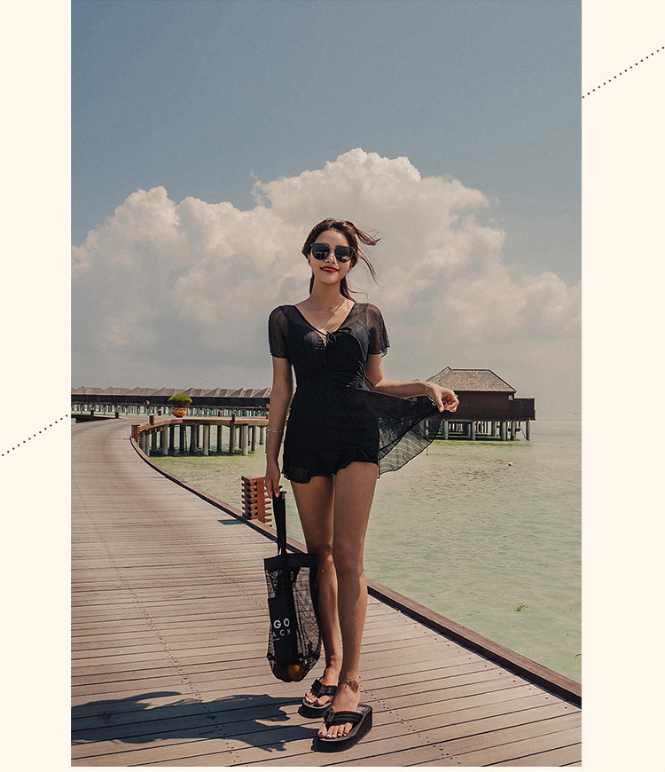 flat angle cover belly steel support sexy skirt one-piece swimsuit NSHL3948