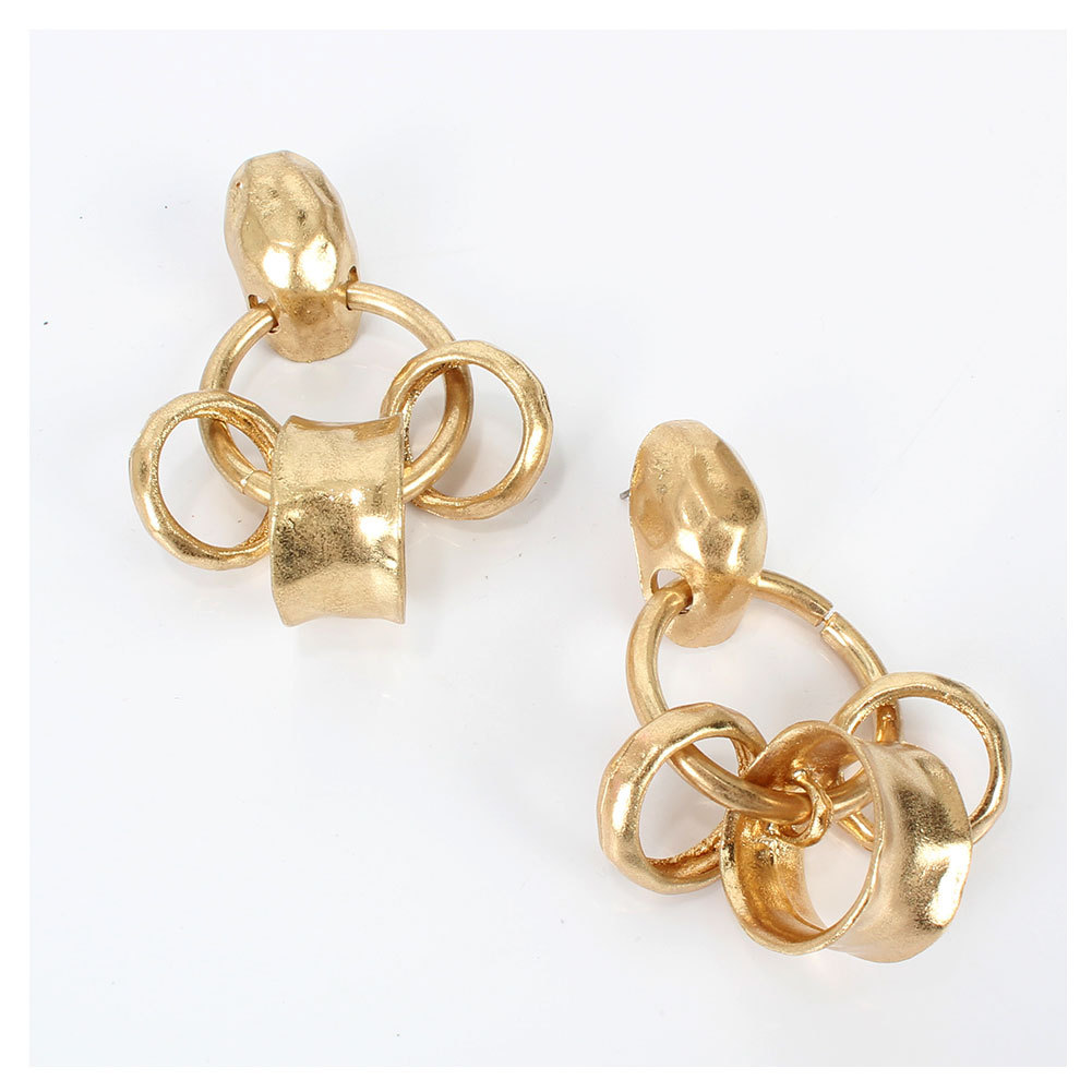 fashion exaggerated metal ring earrings explosion earrings retro alloy earrings wholesale nihaojewelry NHCT220055