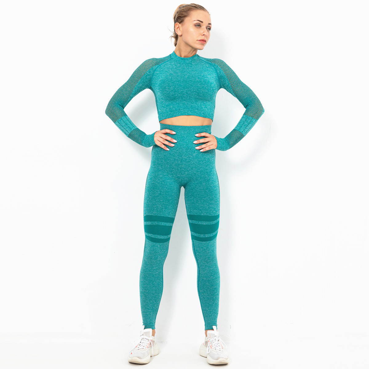 tight-fitting hip pants slim long-sleeved two-piece yoga suit NSLX8981