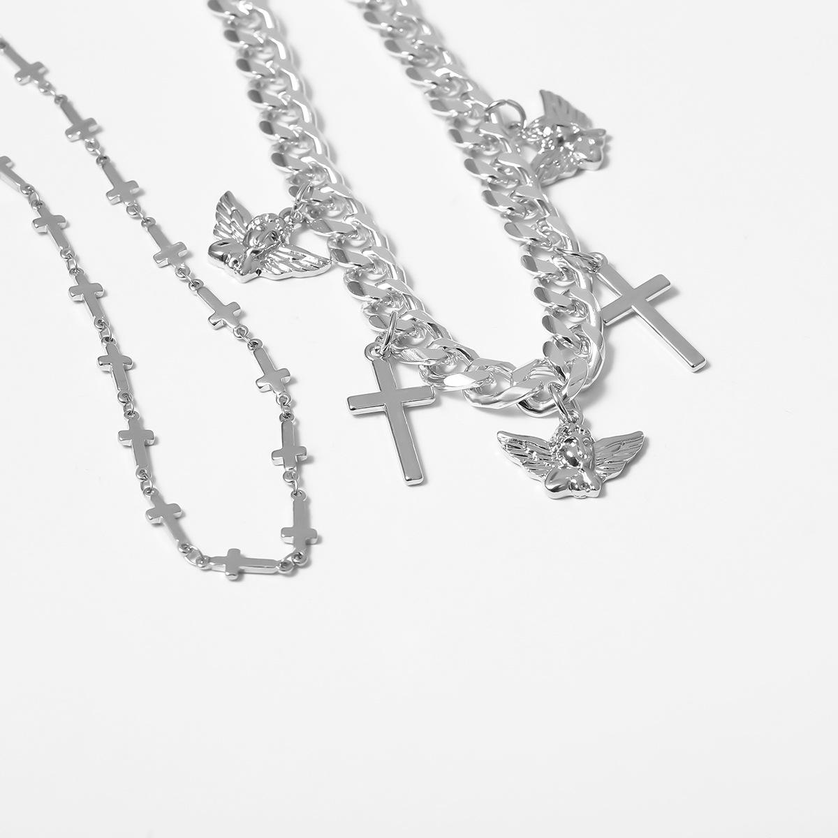 Hip-hop necklace cross multi-layer women's suit necklace NHXR203570