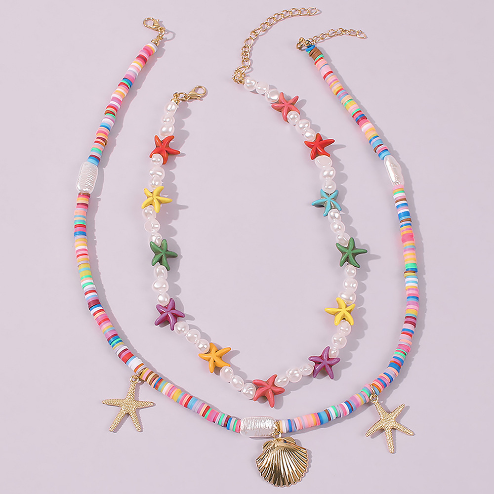 Fashion simple color starfish pearl ethnic style multi-layer shell alloy pendant  necklace for women NHMD251091