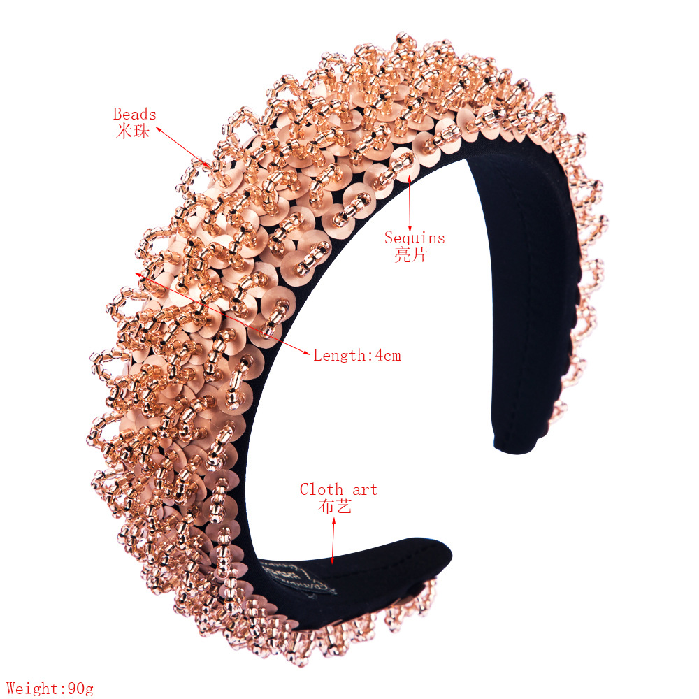 Thin sponge hair hoop ladies handmade beaded fashion catwalk wide edge headband NHLN203487