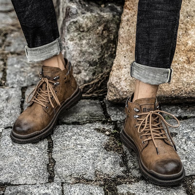 马丁靴男秋冬季透气英伦风复古中筒户外男靴工装军靴皮靴高帮男鞋