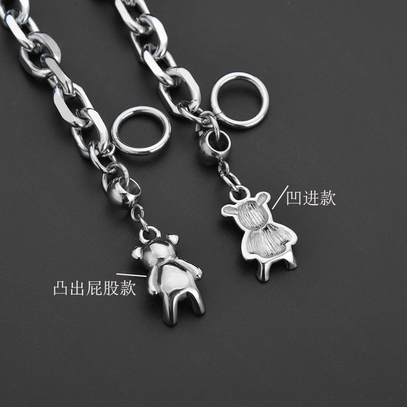 New fashion hip-hop dark bear bear bracelet word buckle titanium steel bracelet nihaojewelry wholesale NHHF213729