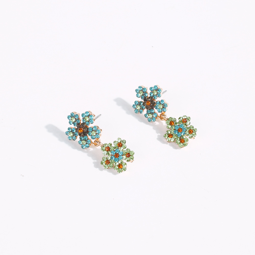 New style double flower earrings fashion wild full diamond imitation pearl color earrings wholesale NHMD201857