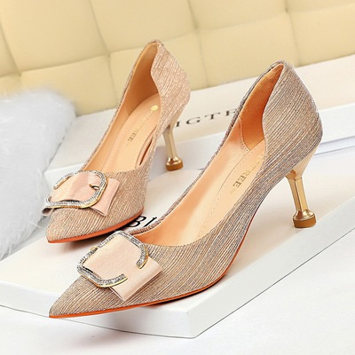 Han edition 2126-1 party metal with high heel with hollow out shallow mouth pointed metal diamond belt buckle women's sh
