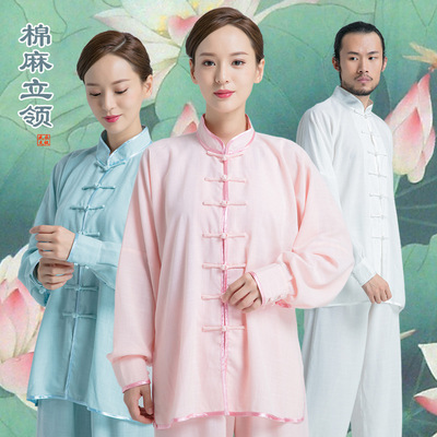 Tai chi clothing kung fu uniforms for women and men cotton linen long sleeve breathable martial arts clothing training clothes