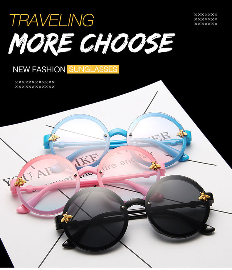 New childrens bee sunglasses round frame bright sunglasses wholesale nihaojewelry NHBA231455