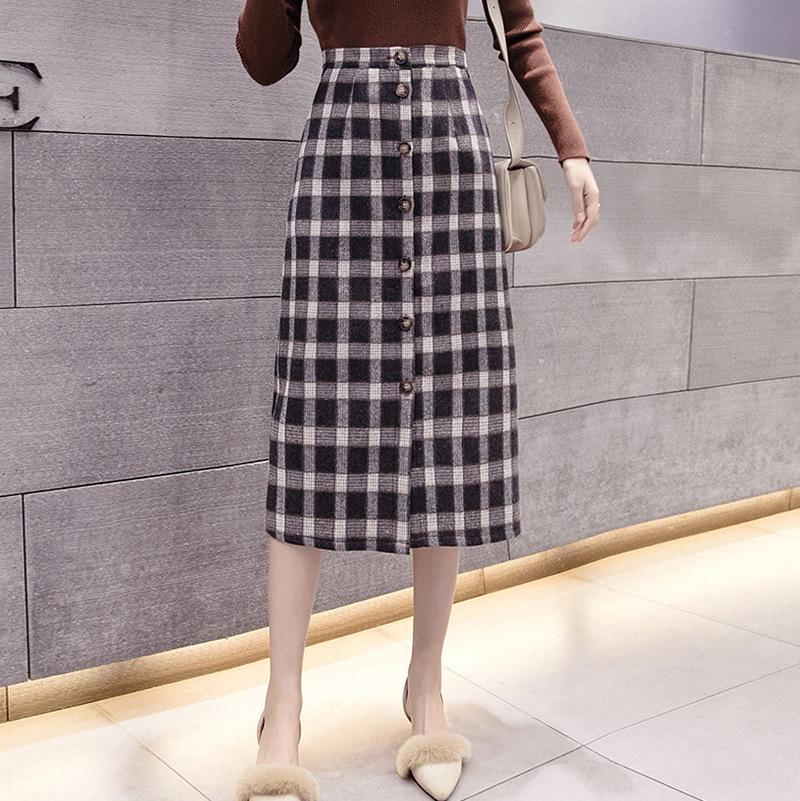 新韩版轻熟风修身显瘦高腰单排扣开叉格子毛呢中长款半身裙长裙女