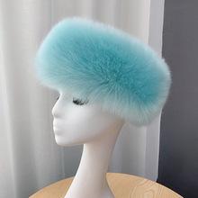 冬季仿皮草无顶帽加厚狐狸毛帽圈保暖无帽檐空顶帽头套饰毛绒帽子