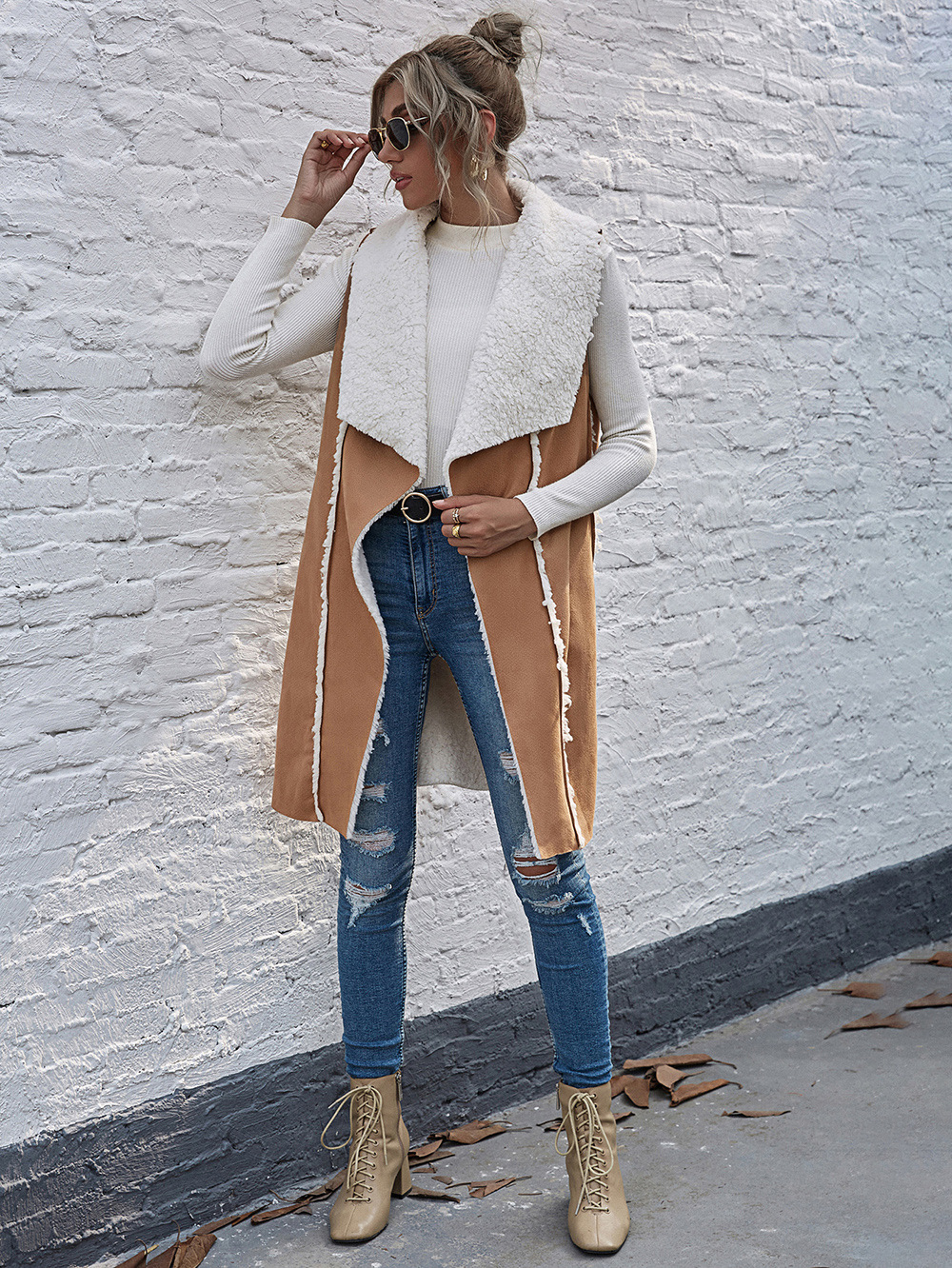 women's new mid-length lapel open collar suede sleeveless autumn and winter jacket  NSDF3930