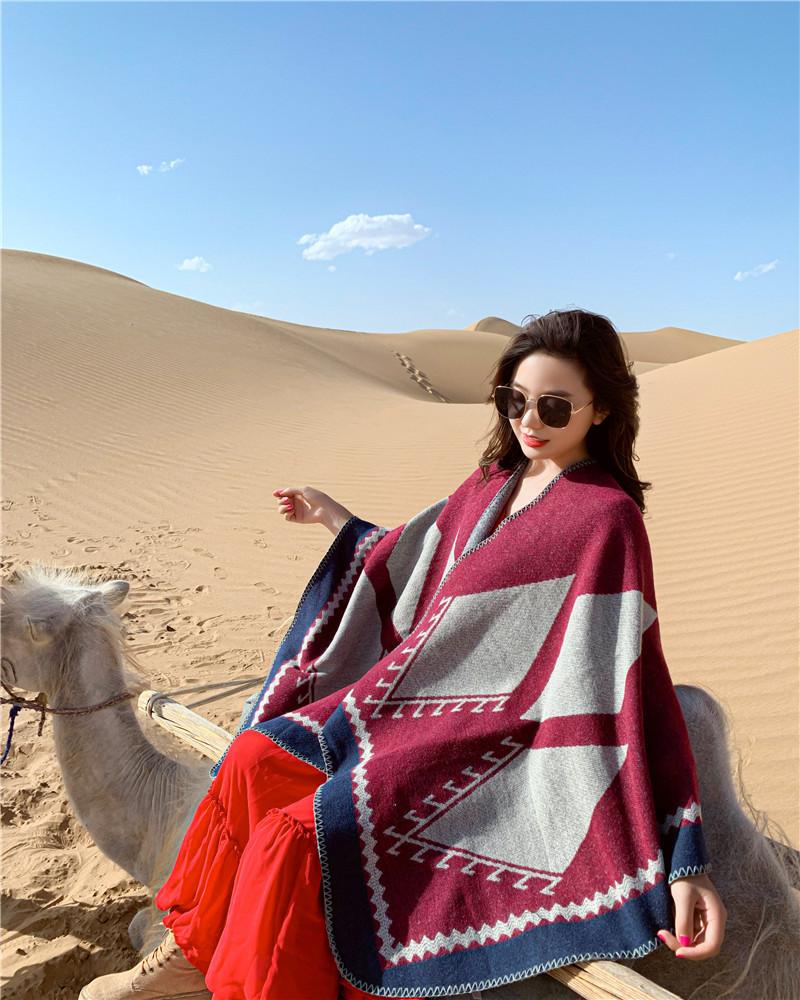 沙漠旅游度假夏季保暖披肩围巾两用女士空调披风百搭外套户外斗篷