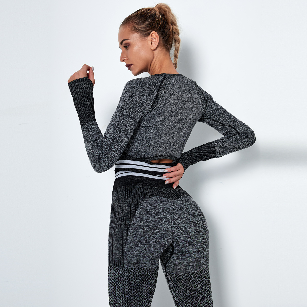 seamless knitted quick-drying long-sleeved running yoga wear NSLX9012