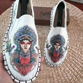 Chinese kungfu taichi clothing shoes Breathable men's pecking opera pattern clothes shoes embroidery ethnic men canvas shoes