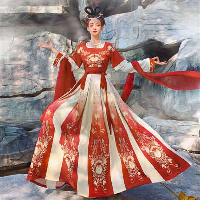 Hanfu dressfemale adult ancient country Chaoxian Tang embroidery half arm flat collar heavy industry waist Ru skirt