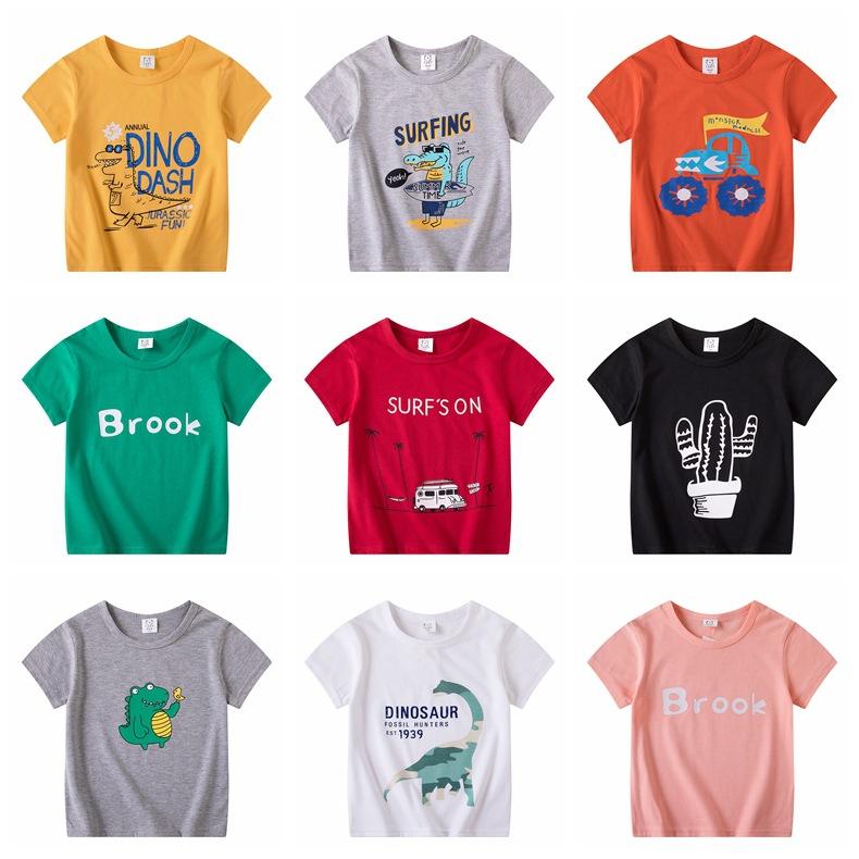 童装批发夏天儿童短袖男童女童T恤舒适宝宝卡通半袖上衣一件代发