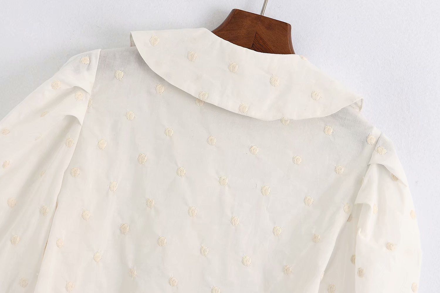 New fashion simple spring embroidery wave dot blouse wholesale NHAM204848