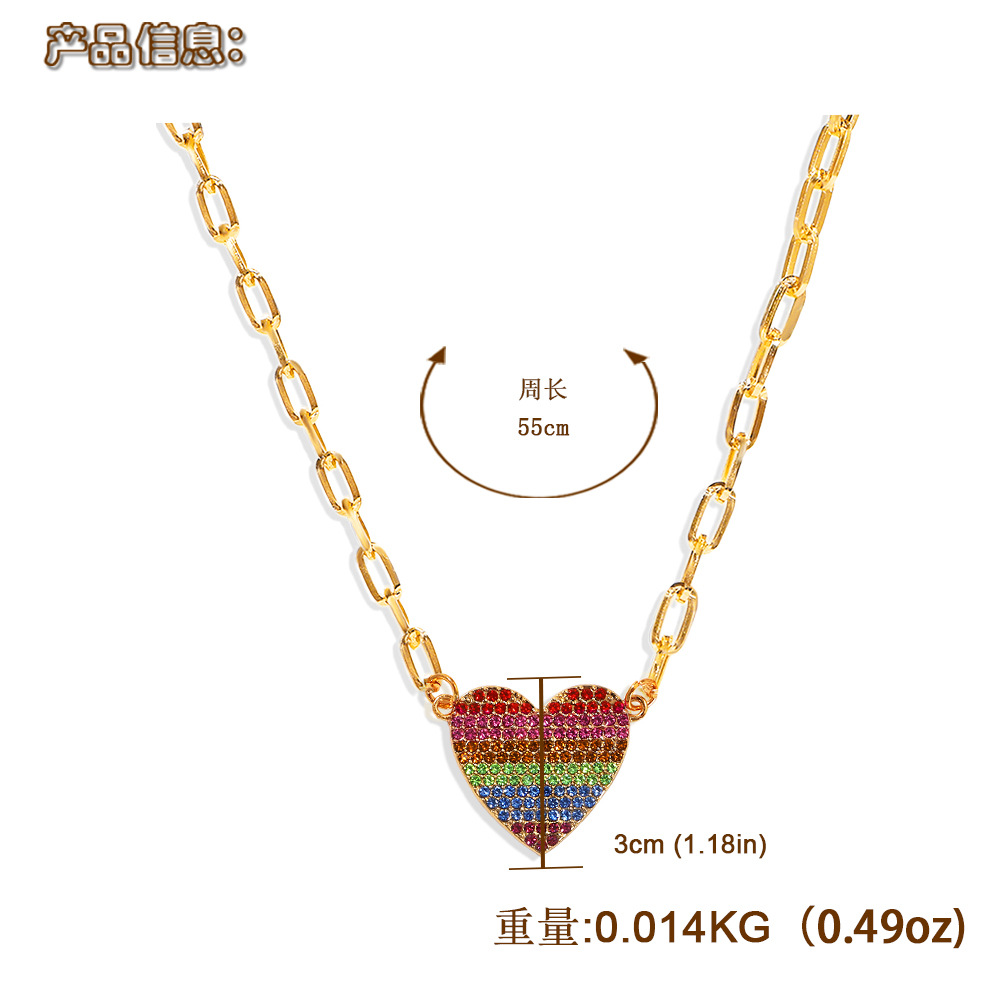 color peach heart diamond fashion wild trend alloy pendant clavicle metal chain for women NHJQ243063