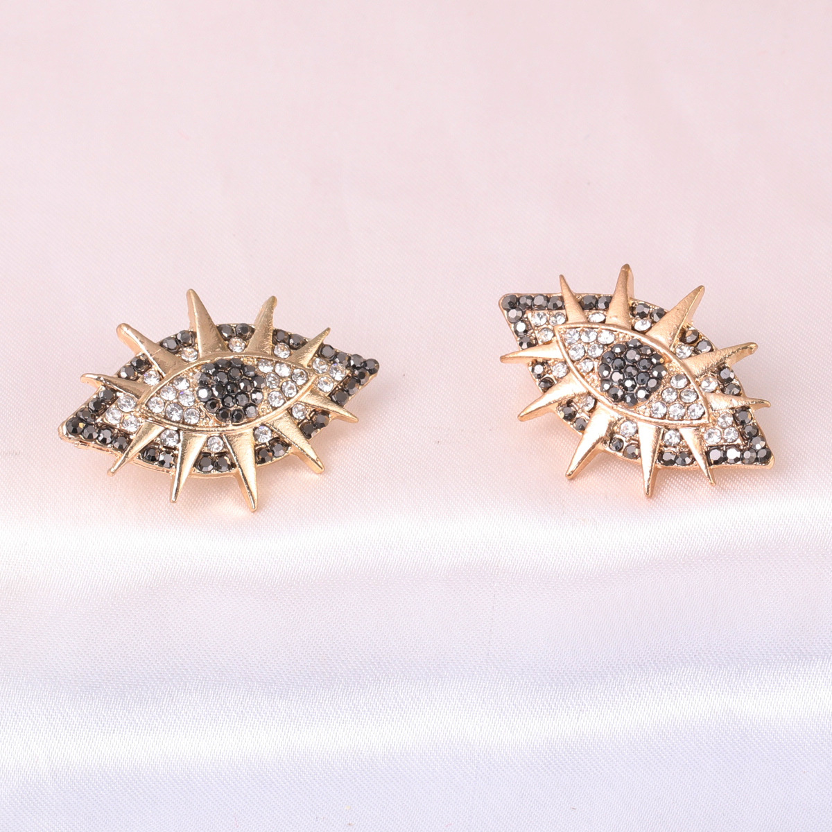 Diamond Devil's Eye Stud Fashion women's Exaggerated Alloy Earrings NHJJ246213