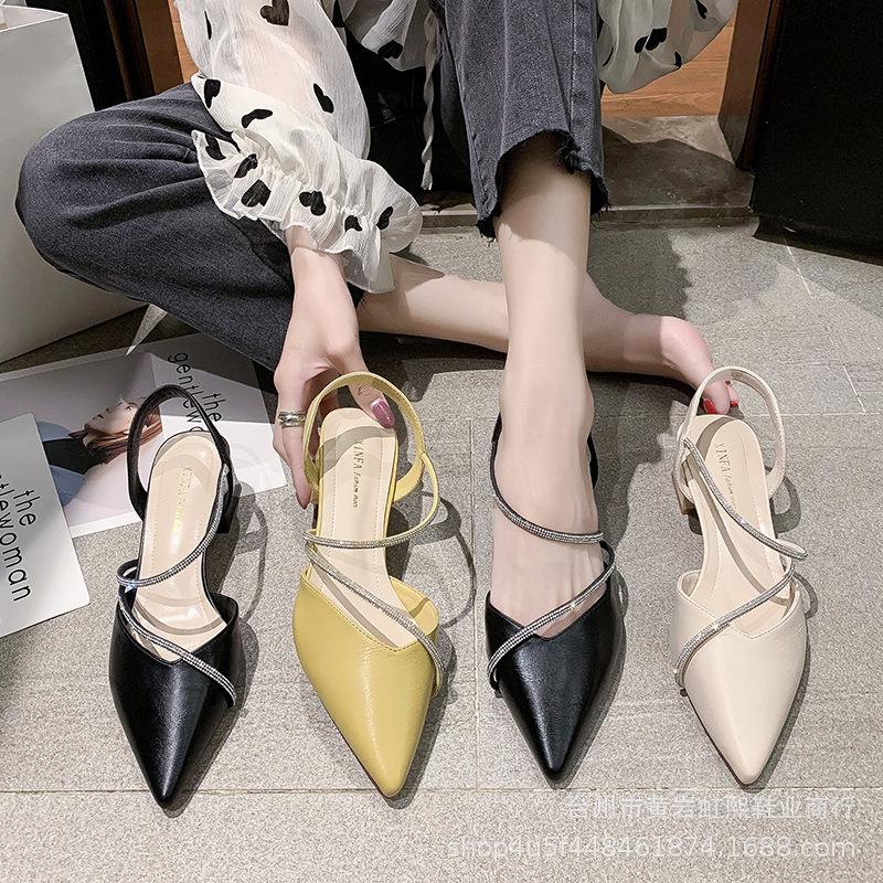 高跟凉鞋女2020夏季新款粗跟仙女风尖头包头一字带水钻时尚女鞋批