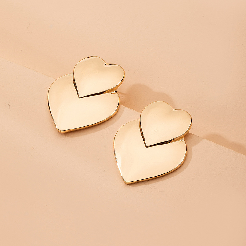 fashion simple mirror loveshaped womens double peach heart exaggerated metal sweet earrings for women NHAI242931