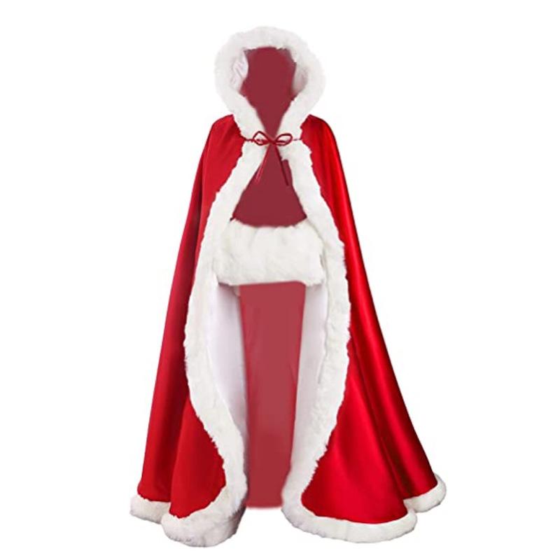 圣诞节成人女披风斗篷连帽金丝绒圣诞老人衣服扮演服装派对服饰