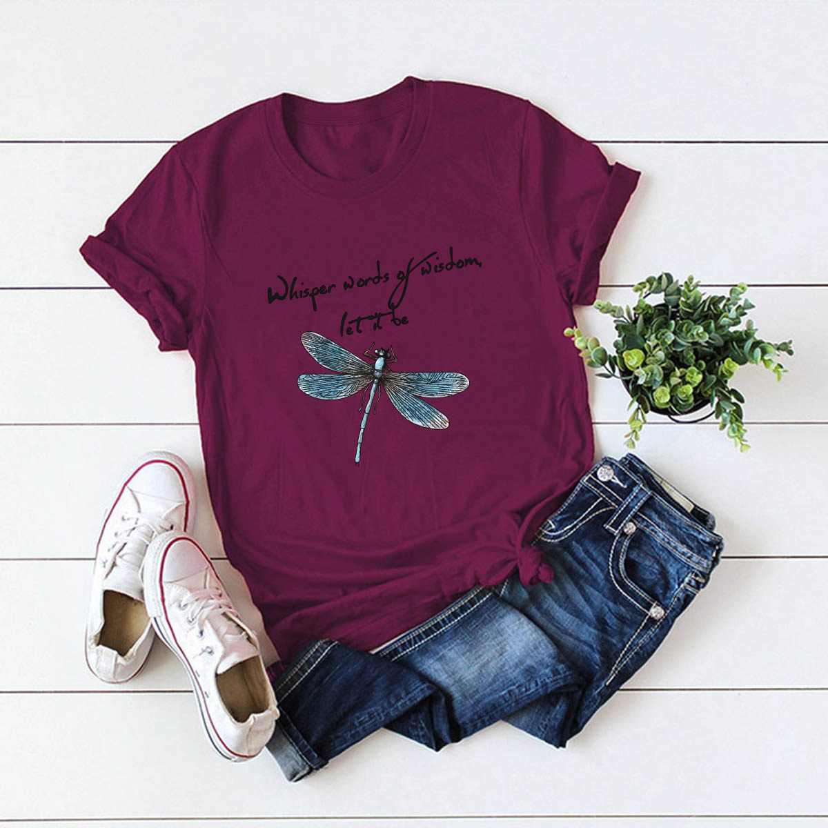 dragonfly letters comfortable short-sleeved T-shirt NSSN1474