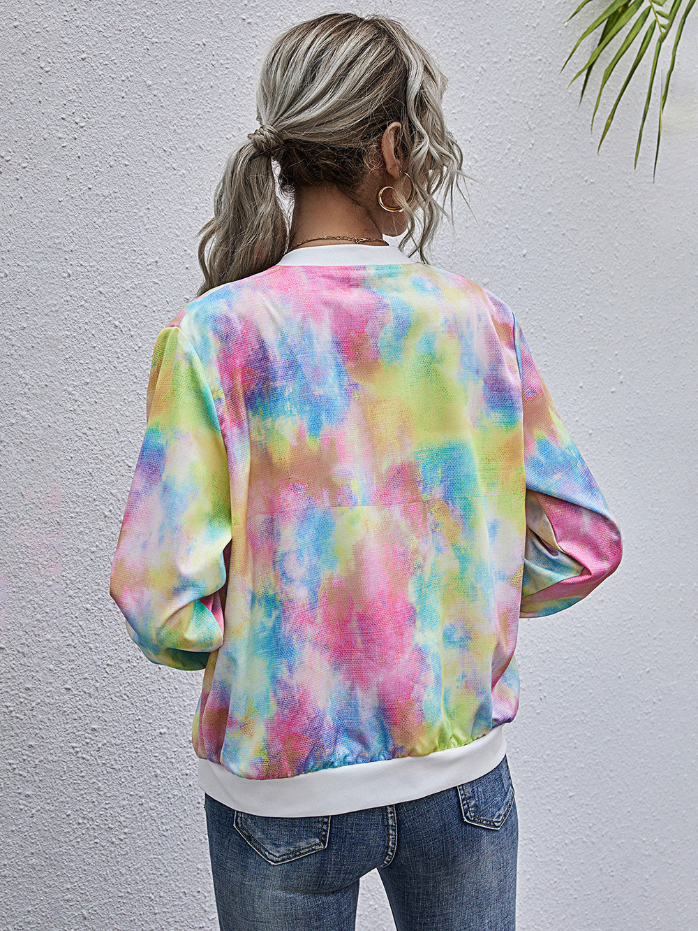 autumn and winter fashion beltless simple digital printing round neck casual tie-dye long-sleeved jacket  NSDF905